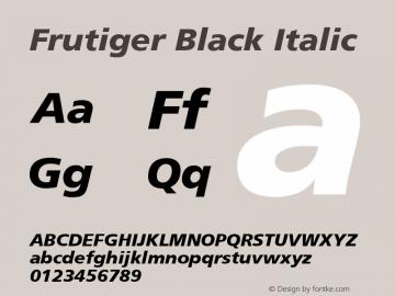 Frutiger Black Italic 001.001 Font Sample