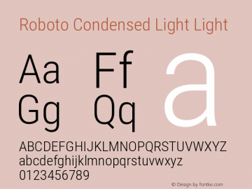 Roboto Condensed Light Light Version 2.001047; 2014图片样张