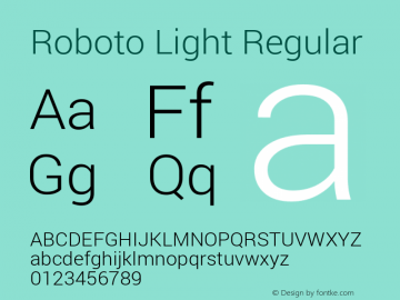 Roboto Light Regular Version 1.100141; 2013图片样张