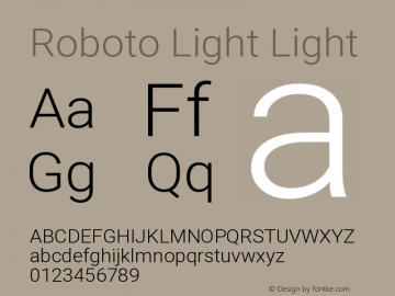 Roboto Light Light Version 2.001047; 2014图片样张