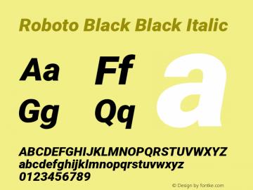 Roboto Black Black Italic Version 2.001047; 2014图片样张
