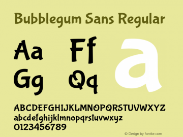Bubblegum Sans Regular Version 1.001图片样张