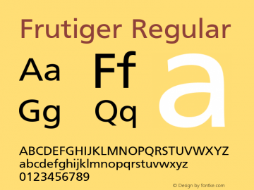 Frutiger Regular 001.000 Font Sample