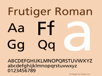 Frutiger Roman Version 001.000 Font Sample