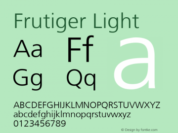 Frutiger Light Version 001.001 Font Sample