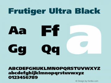 Frutiger Ultra Black Version 001.001 Font Sample