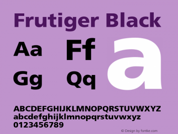 Frutiger Black Version 001.001 Font Sample