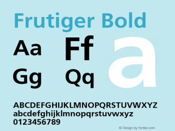Frutiger Bold Version 001.001 Font Sample