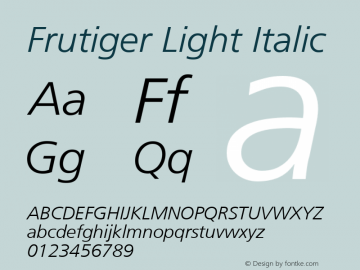 Frutiger Light Italic Version 001.001 Font Sample