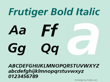 Frutiger Bold Italic Version 001.001 Font Sample