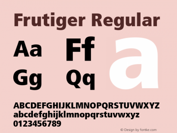 Frutiger Regular 1.0 Font Sample