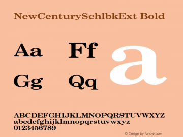 NewCenturySchlbkExt Bold 001.000 Font Sample