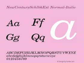 NewCenturySchlbkExt Normal-Italic 001.000 Font Sample