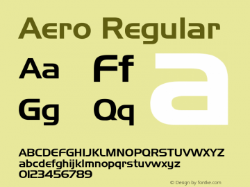 Aero Regular Rev. 002.001 Font Sample