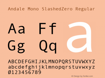 Andale Mono SlashedZero Regular Version 1.25 Font Sample