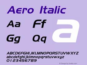 Aero Italic Rev. 003.000 Font Sample