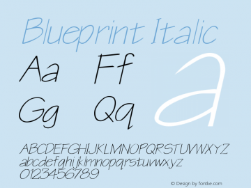 Blueprint Italic Rev. 003.000 Font Sample