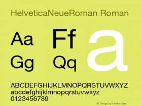 HelveticaNeueRoman Roman Altsys Fontographer 4.0 2004.12.12图片样张