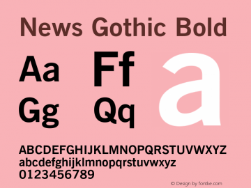 News Gothic Bold 2.0-1.0 Font Sample