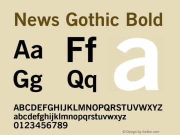 News Gothic Bold 003.001 Font Sample