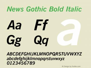 News Gothic Bold Italic 003.001 Font Sample