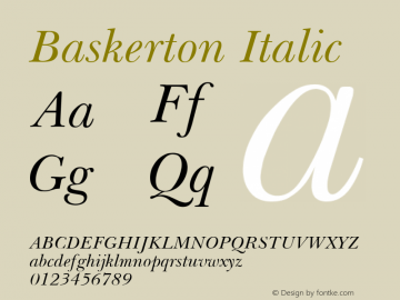 Baskerton Italic Rev. 002.001 Font Sample
