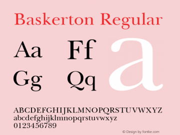 Baskerton Regular Rev. 002.02q Font Sample