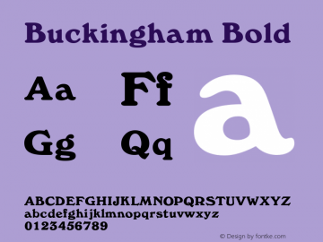 Buckingham Bold Rev. 003.000 Font Sample