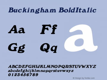 Buckingham BoldItalic Rev. 003.000 Font Sample