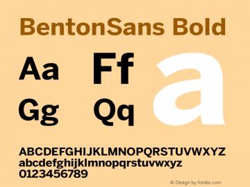 BentonSans Bold Version 1.0 Font Sample