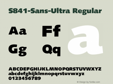 S841-Sans-Ultra Regular Version 1.0 20-10-2002图片样张