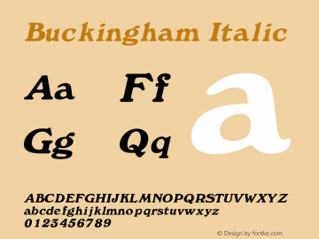 Buckingham Italic Rev. 003.000 Font Sample