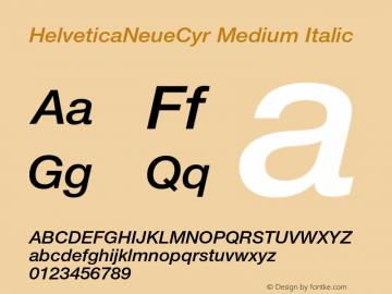 HelveticaNeueCyr Medium Italic 001.000图片样张