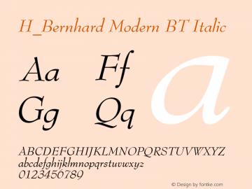 H_Bernhard Modern BT Italic 1997.01.28 Font Sample
