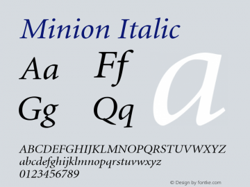 Minion Italic alpha Font Sample