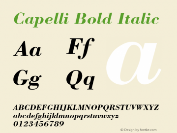 Capelli Bold Italic Rev. 002.001 Font Sample