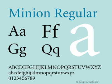 Minion Regular OTF 1.0;PS 001.001;Core 1.0.22 Font Sample