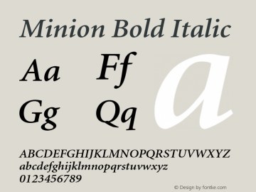 Minion Bold Italic OTF 1.0;PS 001.001;Core 1.0.22 Font Sample