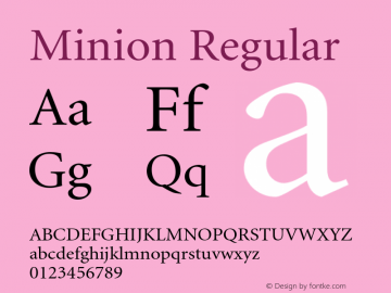 Minion Regular 001.000 Font Sample