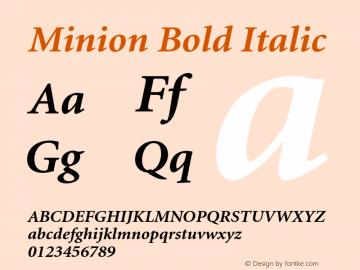 Minion Bold Italic 001.000 Font Sample