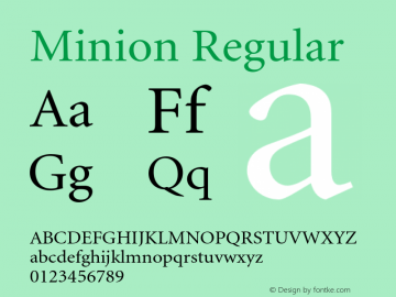Minion Regular 001.001 Font Sample