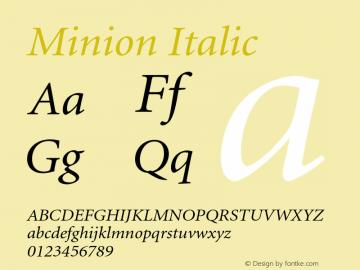 Minion Italic 001.001 Font Sample