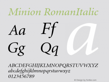 Minion RomanItalic Version 1.00 Font Sample