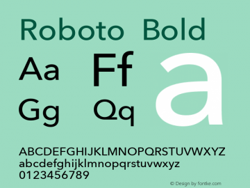 Roboto Bold Version 2.00 March 22, 2014 Font Sample