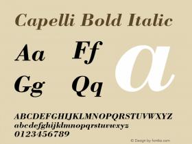 Capelli Bold Italic Rev. 002.02q Font Sample