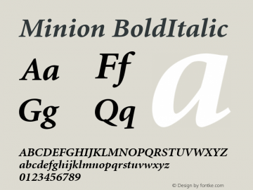 Minion BoldItalic Version 1.00 Font Sample