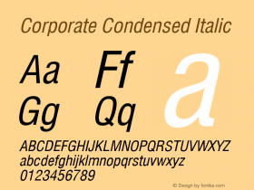 Corporate Condensed Italic Rev. 002.002 Font Sample