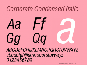 Corporate Condensed Italic Rev. 002.001 Font Sample