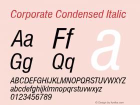 Corporate Condensed Italic Rev. 002.001 Font Sample