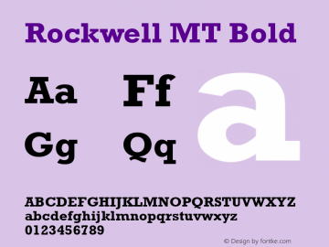 Rockwell MT Bold Version 2.0 - March 2001 Font Sample